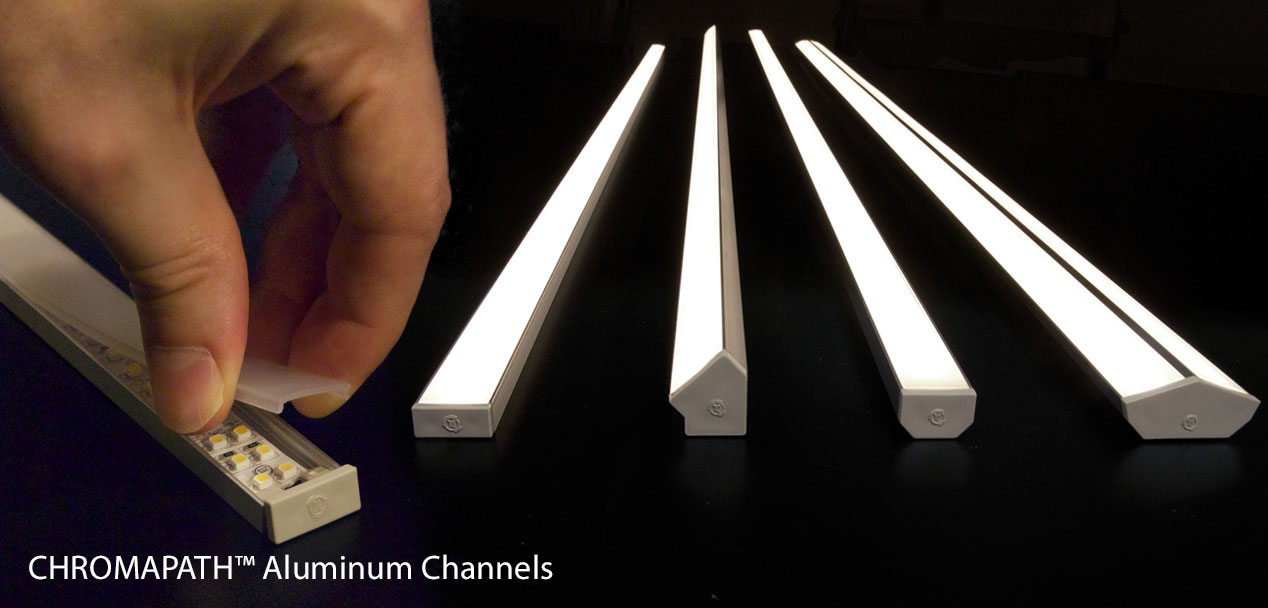 Chromapath aluminum channels for led strip lights elemental led protect and provide light diffusion for led tape lights aloadofball Choice Image
