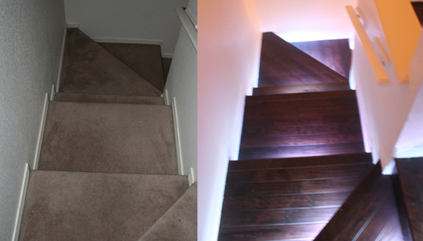 Full Color Leds Stairway Lighting Before And After