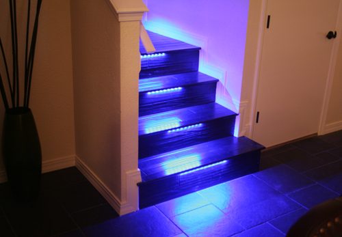 Wallace takes his stairs beyond the bulb with color changing led rgb led strip light staircase lighting aloadofball Images