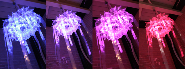 Jellyfish LED light chandelier with repurposed materials