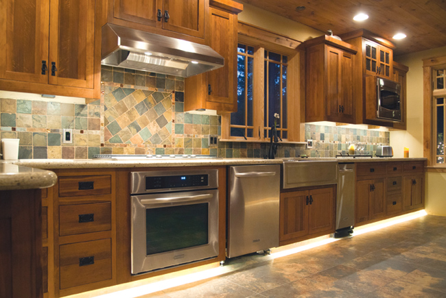 Kitchen with led strip lights
